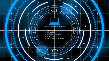 A wonderful 3d illustration of a computer monitor covered with a network checking database in the center of several rotating bright blue circles in the black background
