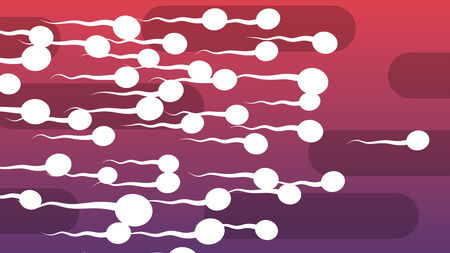 A cheerful 3d illustration of dashing white spermatozoids with curvy tails covering the light violet and purple backdrop with oval black pipes. They look aggressive and lively
