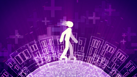 A snappy 3d illustration of an abstract young man riding white roller skates in the violet background. The area with high buildings and crosses rotates under the wheels.