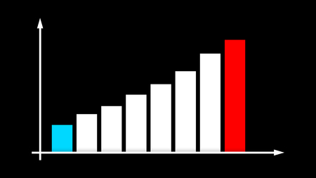 A striking 3d rendering of a bar graph chart with blue, white and red columns increasing and decreasing according to a vertical line with a spiky arrow in the black background.