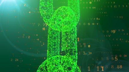 A graphic 3d illustration of a big see-through vertical chain protecting the cyberspace against the flying golden digits of a programmed matrix in the dark green background.
