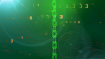 A holographic 3d illustration of a big transparent vertical salad chain protecting the cyberspace against the flying golden digits of a programmed matrix in the dark green background. Stockfoto - 103067974