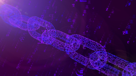 A gorgeous 3d illustration of a massive blue shackle placed askew protecting the cyberspace against the spinning numbers of a programmed matrix in the violet background. Stock Photo