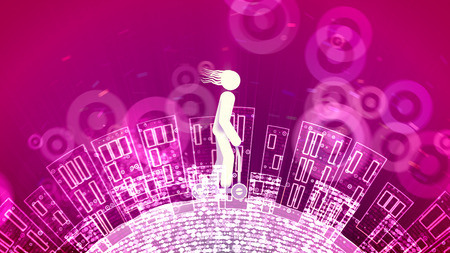 A jolly 3d illustration of an abstract young man riding a push scooter in the purple backdrop with see-through wheels. The Earth with high apartment blocks moves under him.