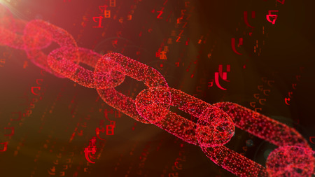 A wonderful 3d rendering of a heavy creeping diagonal red shackle defending the cyberspace against the spinning purple digits of a programmed matrix in the purple background.