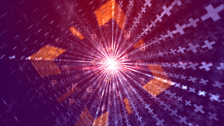 A graphic 3d illustration of glitzy orange letters going through an orange square tunnel with luminous straight lines of crosses and a plasma center in the violet background.  Banco de Imagens