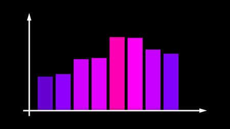 A wonderful 3d illustration of a business bar graph with pink and violet lines moving up and down in a system of coordinates in the black background. They show profit levels.