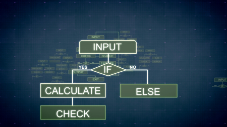 A graphic 3d illustration of computing algorithms appearing in the dark blue background with tablets, lines, such words as input and sparkling spots. All of them are interconnected.