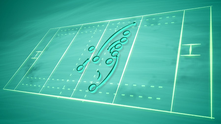A successful 3d illustration of a sport field for American football field covered with zeroes and arrows and other signs. It shows the tactics of defense players trying to stop the attack.