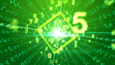 A stimulating 3d rendering of whirling yellow numbers with a big five passing through a cubic tube with a bright center and social media communication lines in the green backdrop.