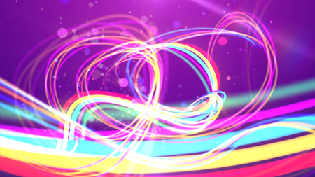 A funny 3d illustration of colorful multicolored rainbow strokes curling and spinning happily in the violet backdrop. Many see-through bubbles are soaring optimistically between them. Stockfoto - 104731019