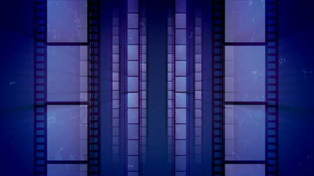 A retro 3d illustration of vertical film tapes changing each other as if they are shot in a dolly in way. They are placed in the blue background. They create the mood of creativity and art.