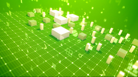 A victorious 3d illustration of a bar chart with jumping columns denoting profit in the green backdrop placed diagonally with flying zeroes, spots, key holes, arrows and other computer symbols. Stock Photo