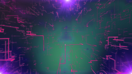 A futuristic 3d illustration of a mesh of pink zigzag matrix plates dazzling in the violet background. They compose some innovative communication cyberspace system with three yellow plasma spots.