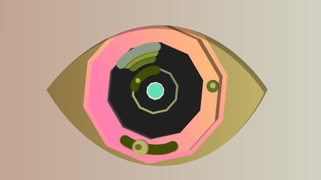 A mysterious 3d illustration of an artificial eye with an octagonal blue pupil, black and grey iris and khaki retina, opening and closing in the grey backdrop. It has moving cameras in slots.