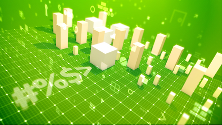 A glorious 3d illustration of a bar chart with surging columns denoting yield in the green backdrop placed askew with soaring zeroes, spots, key holes, angles and other computer symbols.
