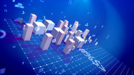 A holographic 3d illustration of a bar chart with growing cubic columns meaning revenue in the blue background placed askew with flying spots, key holes, angles and other computer symbols.