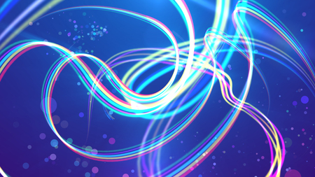 An exciting 3d illustration of colorful rainbow stripes making wavy turns and loops in the blue background. Some crystalline clear spots are soaring between them cheerfully.