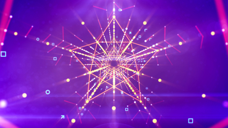 A flashy 3d illustration of a symmetric five pointed star neon tunnel with pentagon structures inside in the violet background with flying angles, arrows, circles, squares and rows of golden dots.