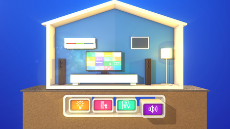 A happy 3d illustration of a symmetric smart home with three pressed buttons connected with a lit floor lamp, black TV plasma and an air conditioner. The rectangular speakers are not switched on.