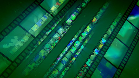 A splendid 3d illustration of diagonally placed straight film tapes sparkling like mirrors with colorful shades. They have various sketches and blurs in the bright green backdrop and look cheery.