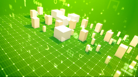 A lively 3d illustration of a bar chart with surging columns denoting revenue in the green backdrop placed diagonally with spinning zeroes, spots, key holes, angles and other computer signs.