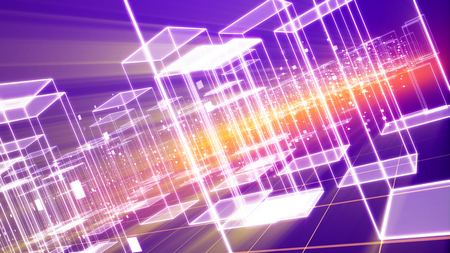 A futuristic 3d illustration of a cyberspace town with many shining see-through houses and soaring squares put on a network from squares in the violet background placed diagonally.