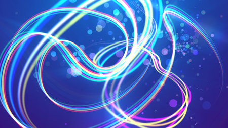 A volumetric 3d illustration of multicolored rainbow stripes curling tenderly and forming romantic curls and loops in the blue backdrop. A lot of light soap bubbles are flying cheerfully around.
