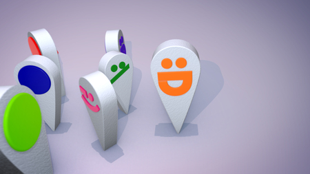 A witty 3d illustration of smiling multicolored emoticons looking like large drops and following one another happily in the grey background. Their childish faces create a funny mood.