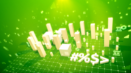 An arty 3d illustration of a bar chart and an arrow placed on a white grid in the salad backdrop. The white columns denoting some financial indicators grow showing reliable business revenue