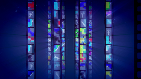 A splendid 3d illustration of vertical film tapes sparkling like mirrors with red, yellow and green reflections shining brightly in the dark blue background. They remind us about Hollywood