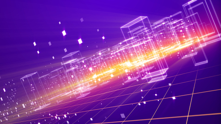 An amazing 3d illustration of a cyberspace urban territory with many dazzling crystalline houses with plazma looking bottom on a grid from squares in the violet background put aslant. Stockfoto