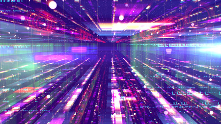 A cutting edge 3d illustration of a shimmering space structure from sparkling multicolored structures and a gap between them resembling a time tunnel with UFOs it in the violet universe. Stockfoto - 107058168