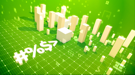 A funny 3d illustration of a bar chart with rising cubic columns meaning income in the green backdrop placed aslant with twisting dots, key holes, dollars, numbers, angles and other computer signs.