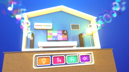 An optimistic 3d illustration of a switched on smart home with a flat plasma TV and bright images, rectangular speakers and blurred musical bubbles, lit floor lamp, white bed and conditioner