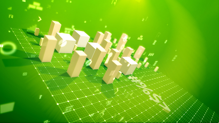 A cheery 3d illustration of a bar chart with moving up cubic columns denoting profit in the green backdrop put askew with twisting zeroes, spots, key holes, arrows and other pc signs. Foto de archivo