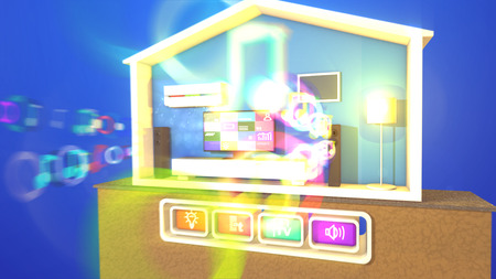 Merry 3d illustration of a smart home with four pressed icons meaning a flat plasma TV with pictures, rectangular speakers with blurred musical bubbles, lit floor lamp, white bed and air conditioner.