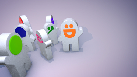 A cheery 3d illustration of smiling toy figures standing in a circle and entertaining together in the grey background. They have bright red and orange mouths and raise their hands optimistically