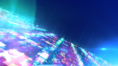 A futuristic 3d illustration of a space design construction placed diagonally with flat surfaces and antennae fixed to them. They are bright, see-through and shine in the blue background.