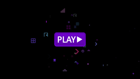 A funny 3d illustration of an oval violet button with an inscription play and an approaching white arrow touching it in the black screen. The icon is encircled with flying multicolored symbols.