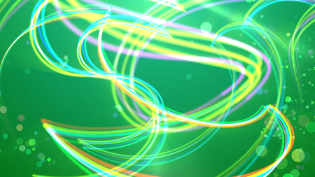 An electrifying 3d illustration of yellow, white and violet strokes whirling and moving in an arty way in the light green background. Some see-through dots are flying between them optimistically.