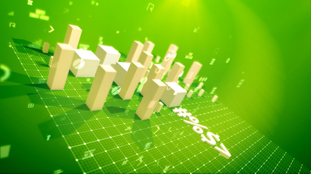 A triumphant 3d illustration of a bar chart with skyrocketing rectangular columns denoting profit in the green backdrop placed aslant with soaring zeroes, spots, key holes, arrows and other pc signs