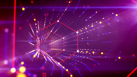 A striking 3d illustration of a dazzling hexagonal neon tube put in the bright violet cyberspace with hazy red, blue and golden lines of squares and spots united in one technological grid system.
