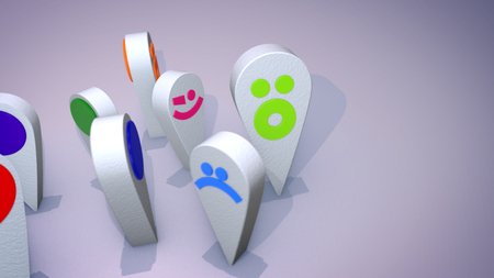 An amusing 3d illustration of smiling multicolored emoticons looking like big drops and and turning one after another happily in the grey background. Their faces create a cheerful mood.