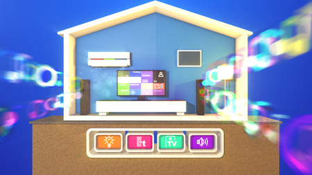 An optimistic 3d illustration of a symmetric smart home with switched on TV plasma TV and eight pictures, long speakers and hazy musical bubbles, lit floor lamp, white bed and conditioner