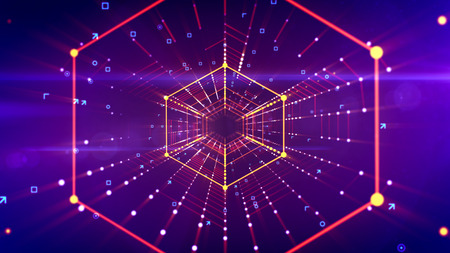 A splendid 3d illustration of a sparkling hexagonal neon tunnel placed in the bright violet cyberspace with blue and yellow stripes of spots. It has connected networks of dots in a long pipe. Stok Fotoğraf