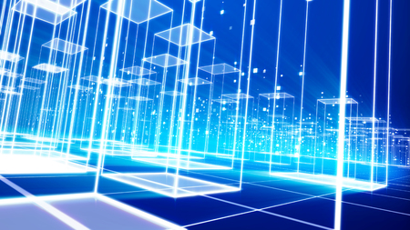 A trancelike 3d illustration of a cyberspace urban area with shimmering crystal buildings and plasma looking bottoms put on a grate from squares in the celeste background inclined a bit Stockfoto