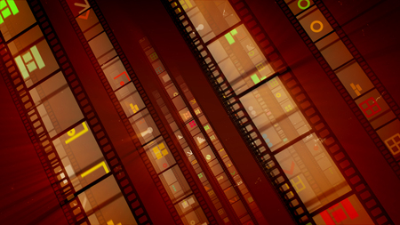 3d illustration of slanting film tape rows shining brightly, being full of colorful staircases, circles, bricks, and other figures in the dark brown background. They look funny and successful. 写真素材