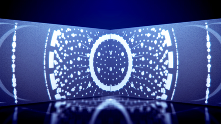 A psychedelic 3d illustration of neon tunnel filled with white oval and round lines as well as see-through spots in the horizontal tube in the blue background. They look magic and cheerful.