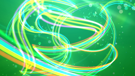 A holographic 3d illustration of colorful rainbow stripes curling tenderly and forming romantic curls and loops in the salad backdrop. A lot of light soap bubbles are moving cheerfully around. Stock Photo